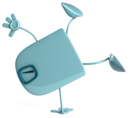 Cartoon weighing scale doing handstand Stock Photo