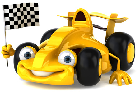 Cartoon yellow racing car with race flag Stock Photo