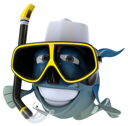 jobs: Cartoon fish with snorkel mask and chef hat Stock Photo