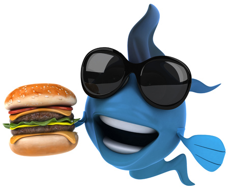 Cartoon blue fish with sunglasses and burger