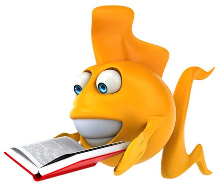 gills: Cartoon fish with book Stock Photo