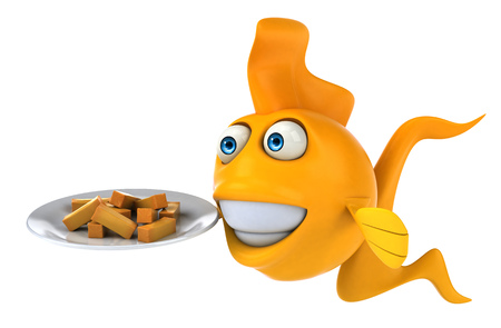 Cartoon fish with french fries