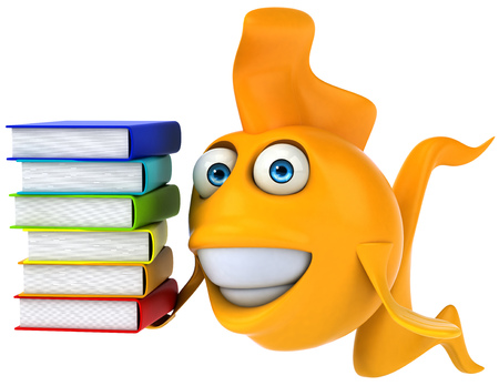Cartoon fish with books