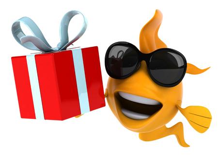 gills: Cartoon fish with sunglasses and gift box
