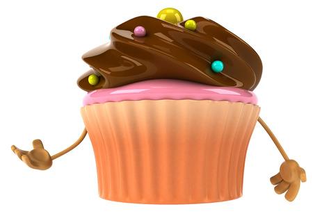 Cartoon cupcake with hands Stock Photo