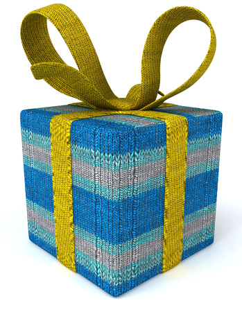 Knitted yarn gift box concept Stock Photo