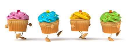 Cartoon cupcakes walking