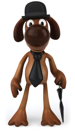 cartoon umbrella: Cartoon dog with bowl hat and tie holding an umbrella Stock Photo