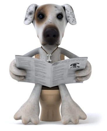 Cartoon dog reading newspaper on toilet bowl