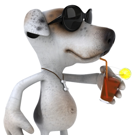 Cartoon dog with sunglasses and cocktail drink