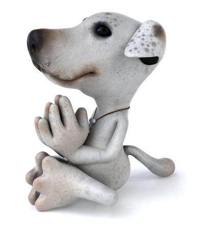 Cartoon dog is meditating