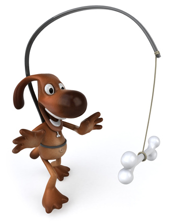 Cartoon dog with dog bone on a stick