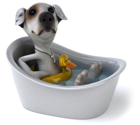Cartoon dog with duck buoy in a bathtub