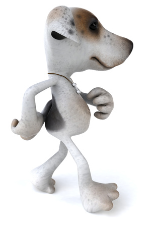 Cartoon dog is walking