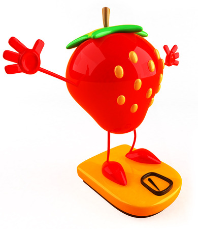 Cartoon strawberry on weighing scale Stock Photo