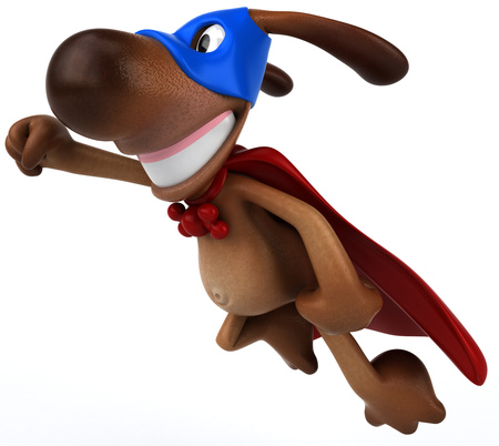 super dog: Cartoon dog in superhero costume