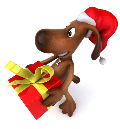 festive occasions: Cartoon dog with Santa hat with gift box