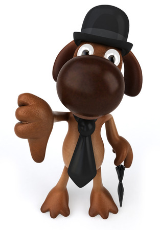 Cartoon dog with bowl hat and tie holding an umbrella showing thumbs down