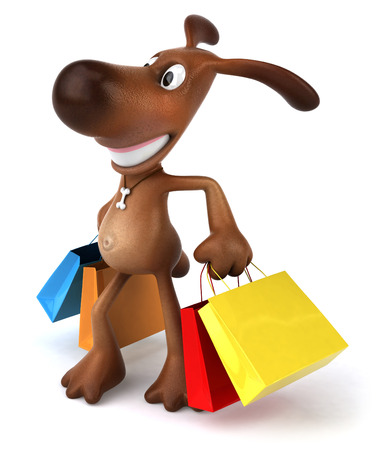 Cartoon dog with shopping bags