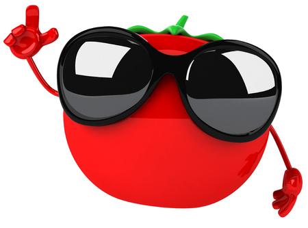 サングラスをかけた漫画トマトを指してください。 写真素材