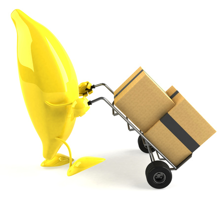 Cartoon banana pushing trolley with boxes