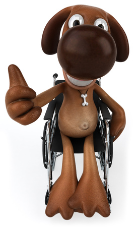 Cartoon dog on wheelchair showing thumbs up