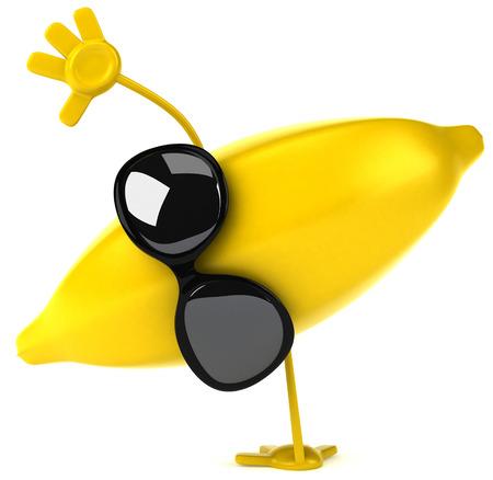 Cartoon banana with sunglasses doing handstand