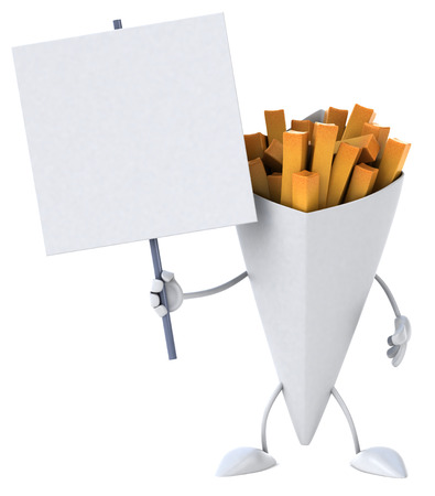 Cartoon fries with signboard Stock Photo
