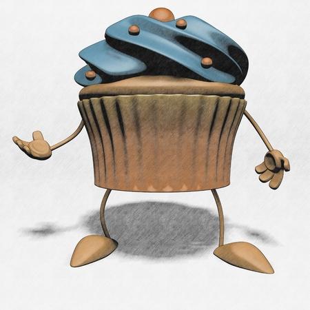 Cartoon cupcake with hands Imagens
