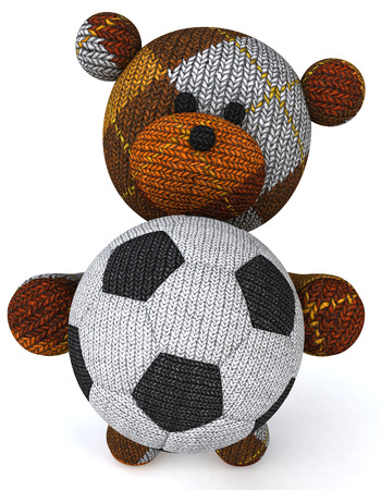 Cartoon Knitted Teddy Bear With Soccer Ball Stock Photo Picture And