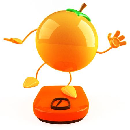 Cartoon orange on weighing scale