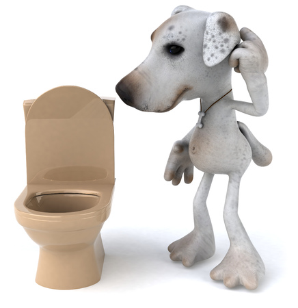 Cartoon dog and toilet bowl Stock Photo