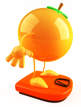 Cartoon orange on weighing scale
