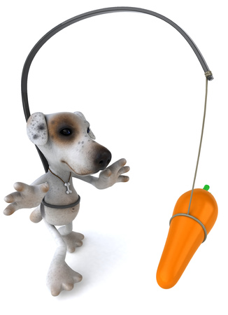 chasing tail: Cartoon dog with carrot and stick concept