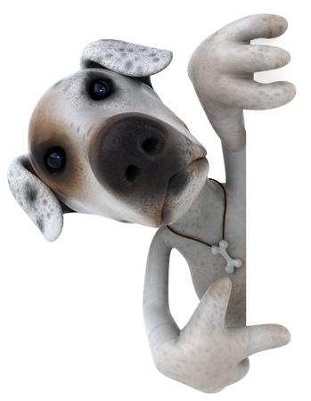 Cartoon dog is pointing