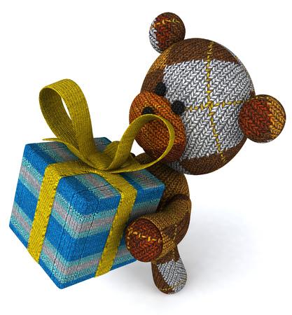 Cartoon teddy bear with a gift Stock Photo