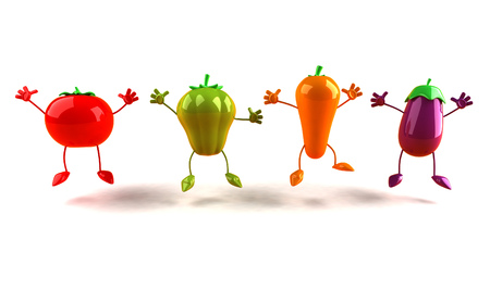 Cartoon fruits and vegetables are jumping
