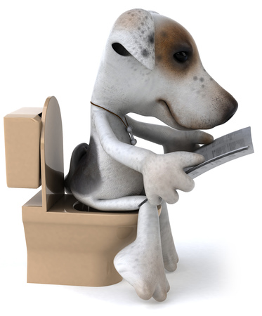 Cartoon dog and toilet bowl reading newspaper
