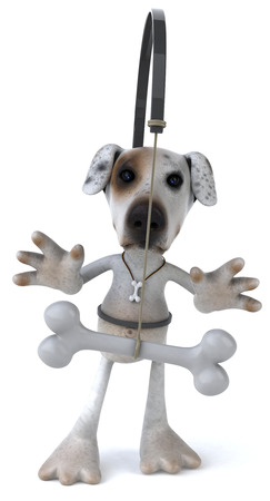 chasing tail: Cartoon dog with dog bone on a stick