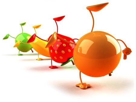 Cartoon fruits doing handstand Stock Photo