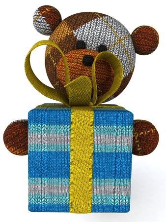 Cartoon knitted teddy bear with gift box