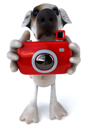 Cartoon dog with a camera