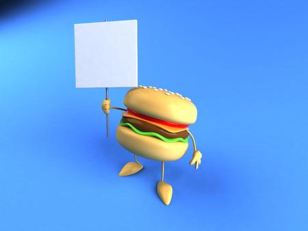 Cartoon burger holding a signboard Stock Photo