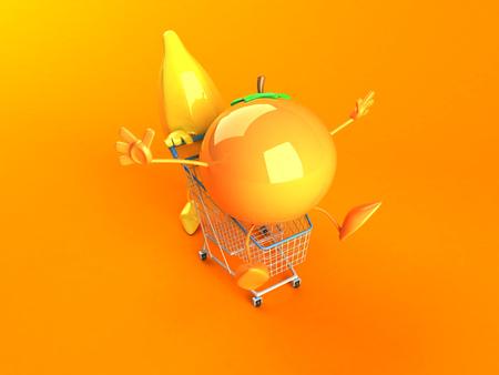 Cartoon banana pushing shopping cart with orange Stock Photo