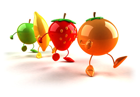 Cartoon fruits walking