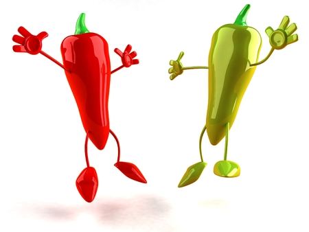 Cartoon red and green chili peppers are jumping