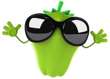 Cartoon green bell pepper Stock Photo