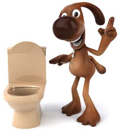 Cartoon dog and toilet bowl Stock Photo