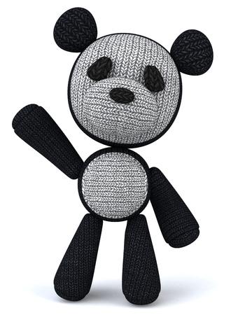 wave hello: Cartoon knitted panda bear waving