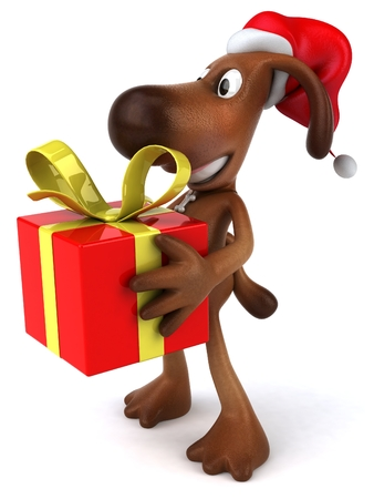 domesticated: Cartoon dog with Santa hat holding gift box